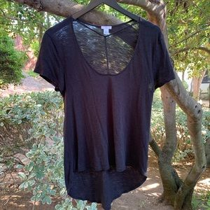 BP Open Chest Strappy Black Tee Shirt Flowy
